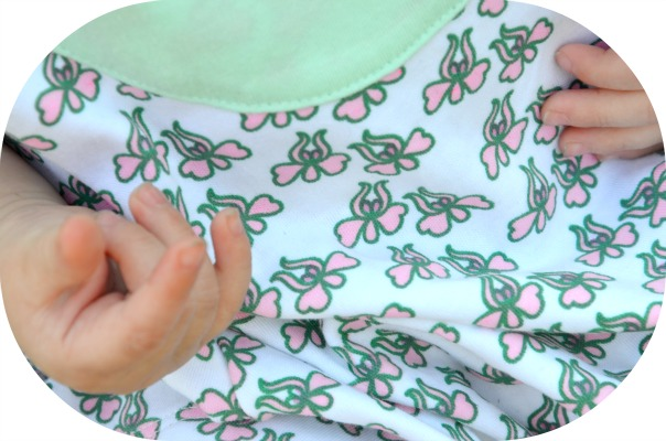 Clsoe-Up of Tangerine Tree Little Girl Aqua Organic Mermaid Flower Dress