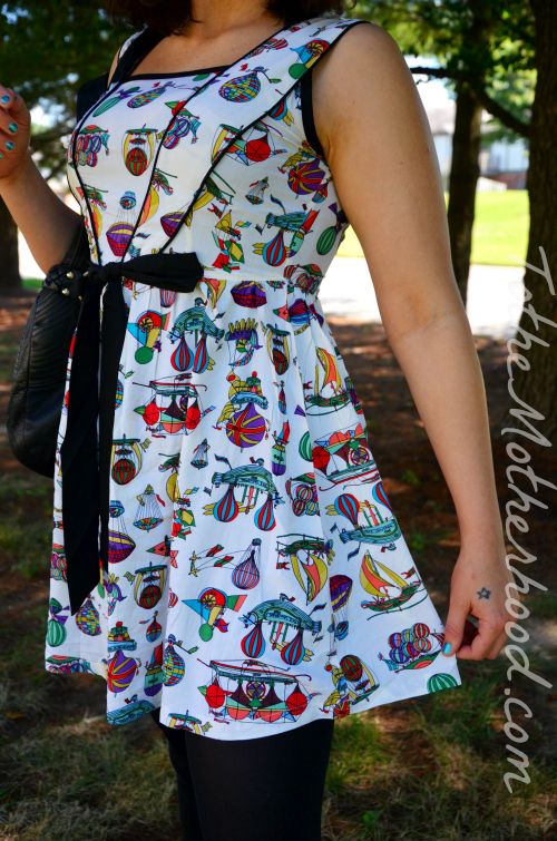 Flying Ships Hand-Painted Print Dress