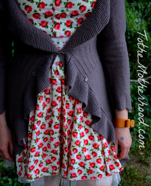 Red Rose Printed and Lace Dress