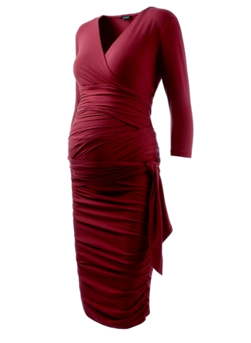 The Ruched Wrap Maternity Dress $199