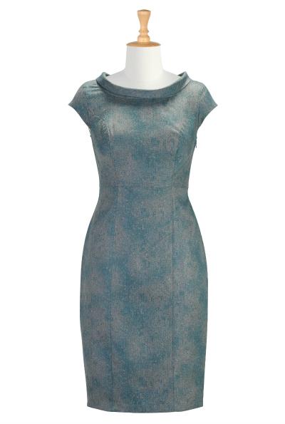 Cowl Collar Micro-Herringbone Dress $69.95