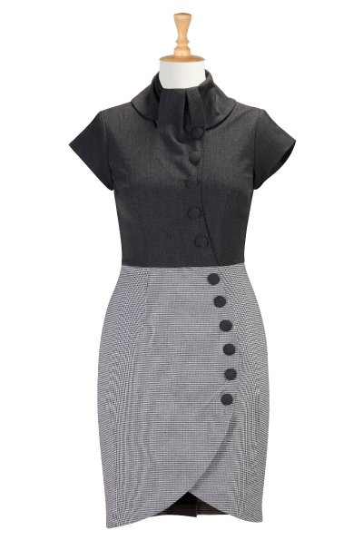 Curved Button Front Faux-Wrap Dress $69.95