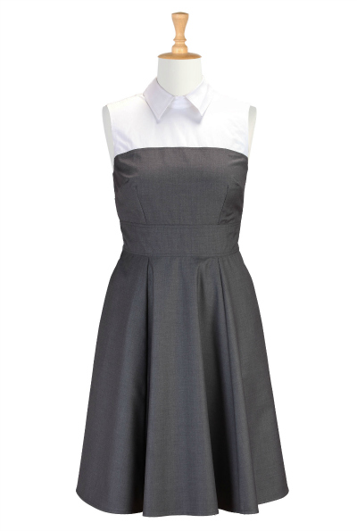 eShakti Contrast Collar Fit and Flare Dress $99.95 $99.95