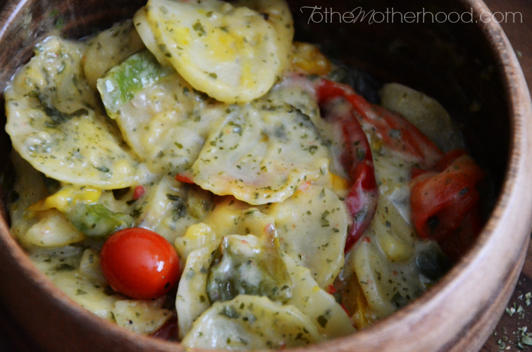 Au Gratin Potatoes Casserole with Roasted Peppers and Grape Tomatoes