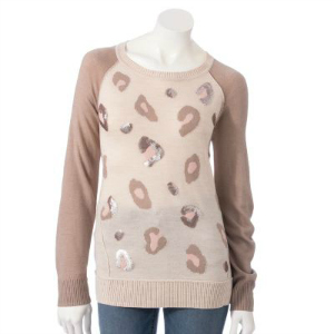Apt. 9® Animal Print Embellished Sweater Was $50.00 Now $23.99