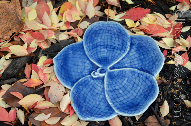 Blue Vanda Floral Celadon Ceramic Serving Plate