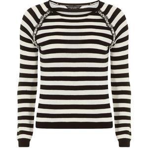 Dorothy Perkins Black and Ivory Embellished Jumper Was $45.00 Now $27