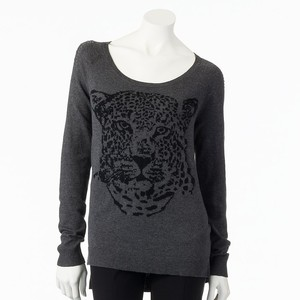 Rock & Republic Cheetah Embellished Sweater Was $68.00 Now $38.40