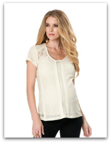 NANETTE LEPORE Short Sleeve Embroidery Maternity Blouse