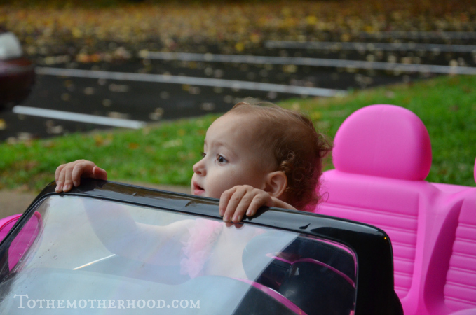 Daugher in Kid Trax VW Beetle Convertible 12-Volt Battery-Powered Ride-On