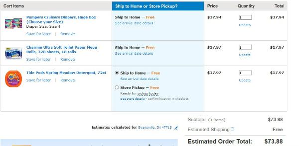 Walmart Online Cart