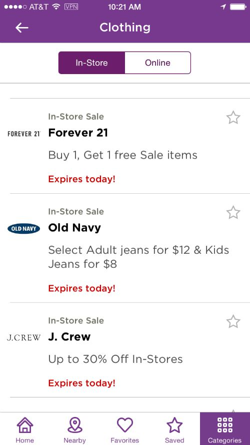 Shopping for Clothing on the RetailMeNot App