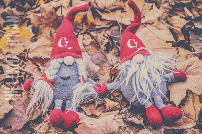 Gnomeo and Juliet in the Leaves