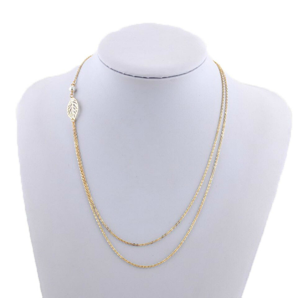 Ashlyn Nature Double Strand Leaf Necklace