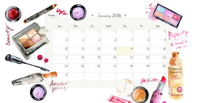 Digital Beautiful Calendar for 2016