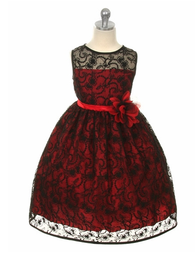 Red Dress with Black Overlay Lace
