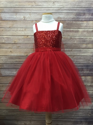 Red Sequined Bodice with Tulle Skirt and Sash