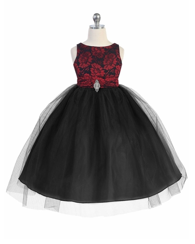 Red and Black Lace Bodice Tulle with Overlay Skirt