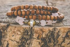 Healing and Love Sandalwood and Matte Rose Quartz 108 Bead Mala with a Tibetan Pearl Guru Bead