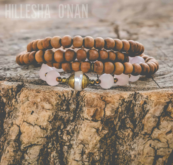 Healing and Love Sandalwood and Matte Rose Quartz 108 Bead Mala with a Tibetan Pearl Guru Bead