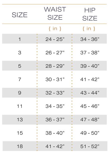 Hourglass Angel Size Chart