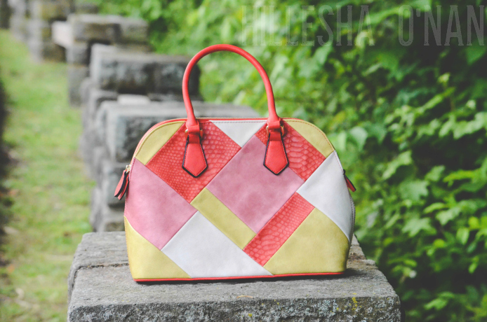 Desert Sunset Coral Patchwork Handbag