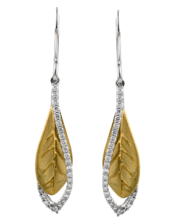 Diamond Drop Leaf Earrings for Mother's Day