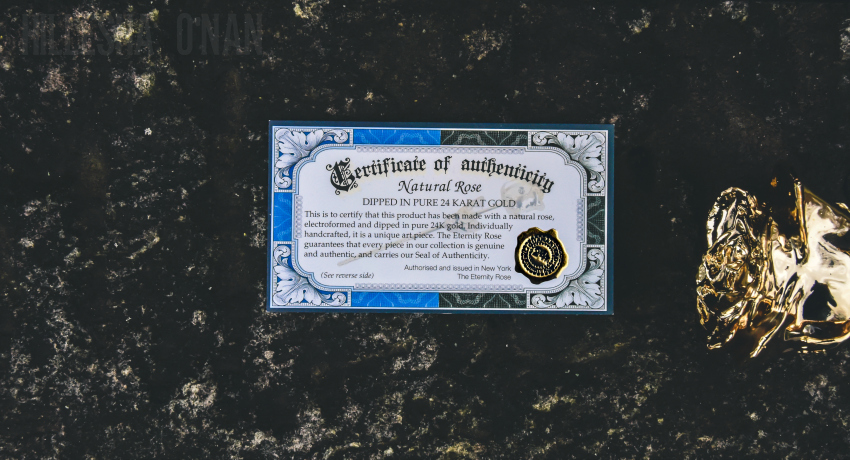 24K Gold-Dipped Natural Eternity Rose Certificate