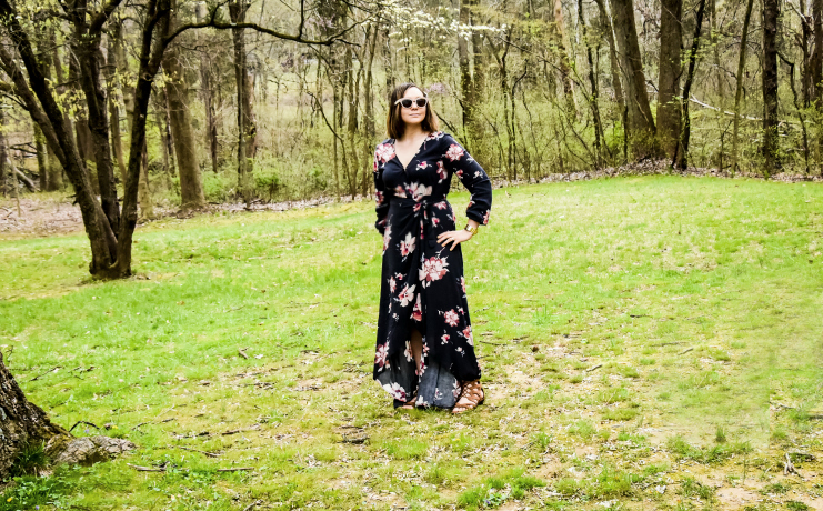Sophie and Trey Floral Long Sleeve Maxi Wrap Dress in Charcoal Review