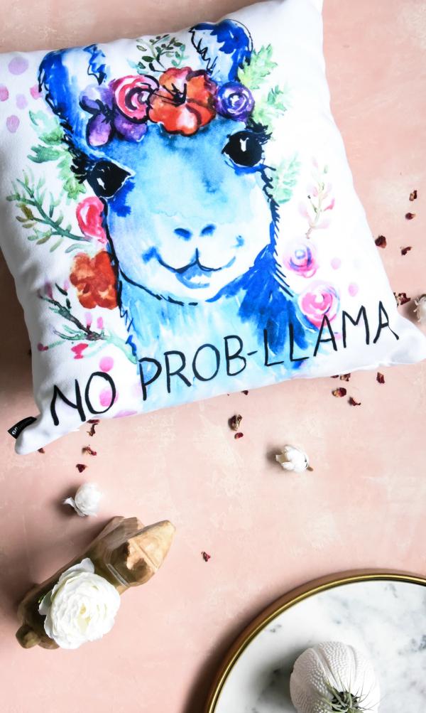 Colorful No Prob-Llama Llama Pillow by Studio Emma Kaufmann
