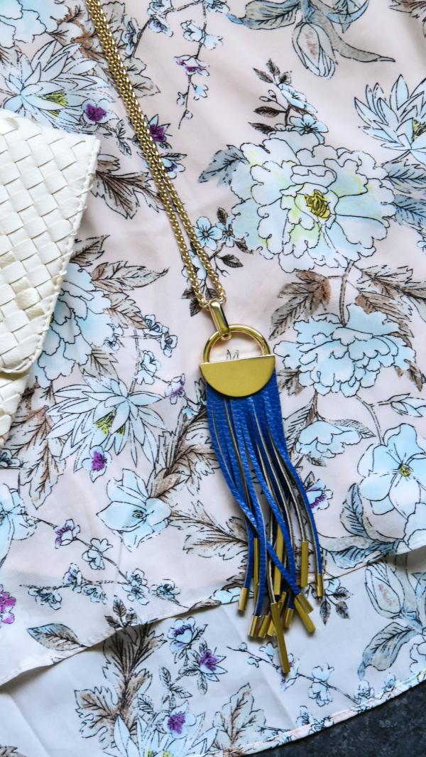 Sterling Forever Leather Fringe Reversible Black and Cobalt Blue Tassel Necklace Review