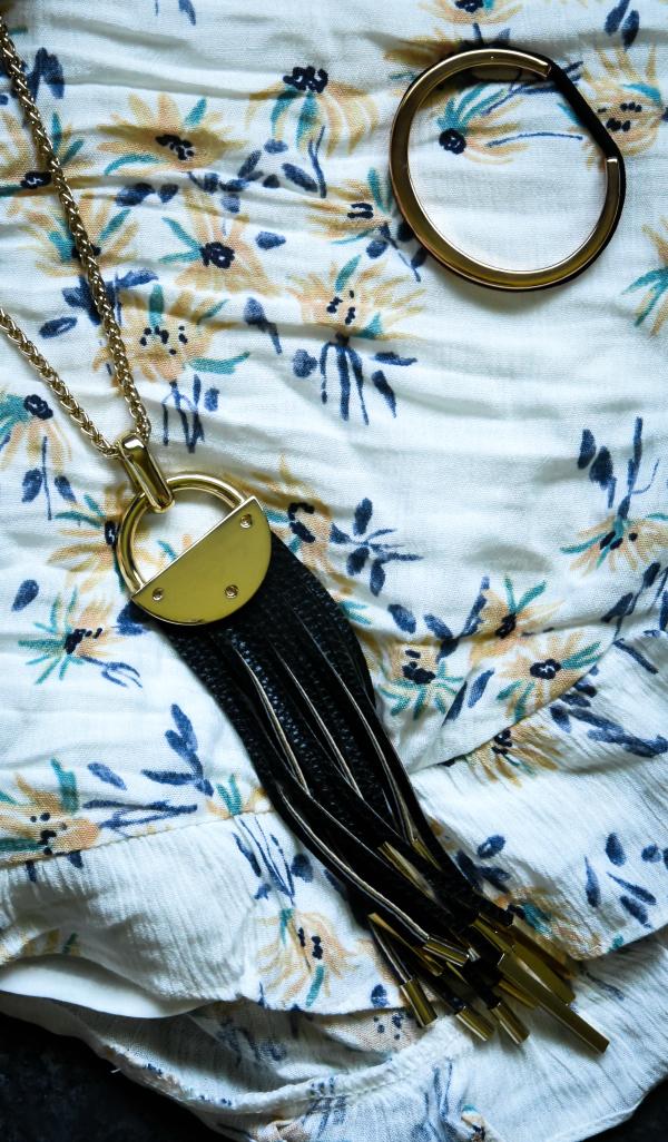 Sterling Forever Leather Fringe Reversible Black and Cobalt Blue Tassel Necklace