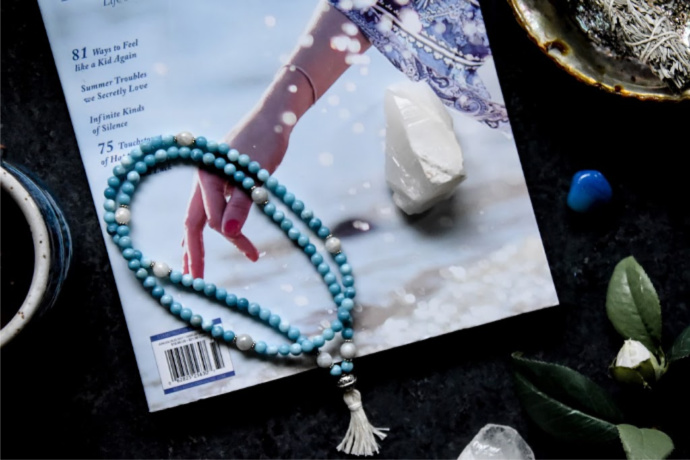 Japa Mala Beads Larimar and Moonstone Full Mala Review