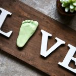 Memories in Clay Wooden Live Sign with 3D Ceramic Footprint