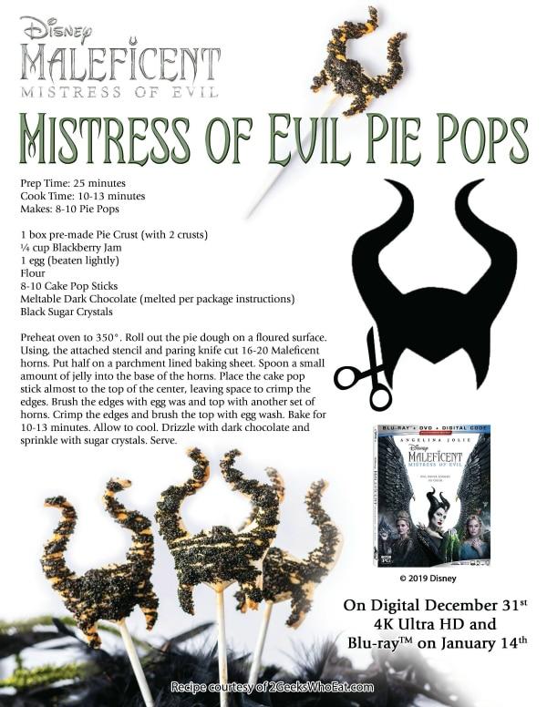 Maleficent Mistress of Evil Pie Pops Recipe